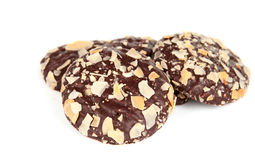 Cookies with chocolate and almonds Royalty Free Stock Photography