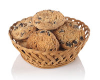 Cookies with chocolate in the basket Stock Photos