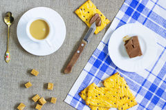Cookies. Chocolate butter. A cup of coffee with milk Stock Photos