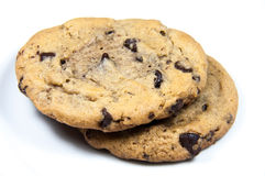 2 cookies. 2 chocolate chip cookies stacked on a white background Stock Images