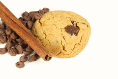 Cookies with chocolate chips and cinnamon stick Stock Photo