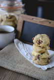 Cookies Chocolate Chips with Coffee and Black Board on jute, Breakfast, Fresh Morning Royalty Free Stock Image