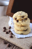 Cookies Chocolate Chips with Coffee and Black Board on jute, Breakfast, Fresh Morning Stock Photography