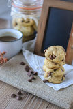 Cookies Chocolate Chips with Coffee and Black Board on jute, Breakfast, Fresh Morning Stock Images