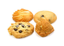 Cookies with chocolate chips isolated. Chocolate chip cookies isolated on white background stock photo