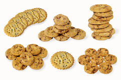 Cookies with chocolate chips set Stock Photos
