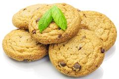 Cookies with chocolate chips on a white Royalty Free Stock Photo