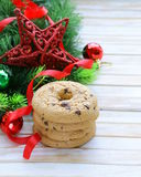 Cookies with chocolate with Christmas tree branches and decorations Stock Photo
