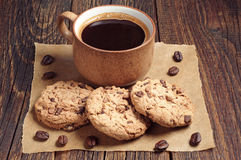 Cookies with chocolate and coffee Royalty Free Stock Image