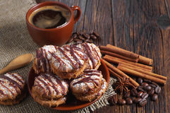 Cookies with chocolate and coffee Stock Image