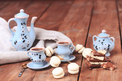 Cookies and chocolate with cup of coffee. Homemade cookies with cups of coffee, selective focus Stock Images