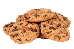 Cookies with chocolate drops isolated Royalty Free Stock Photography