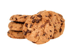 Cookies with chocolate drops isolated Stock Image