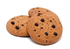 Cookies with chocolate drops  on white Stock Photos