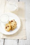 Cookies with chocolate filling and fresh milk Stock Photo