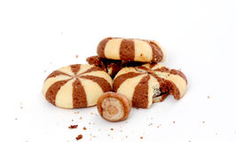 Cookies with Chocolate Filling. Picture of a Cookies with Chocolate Filling on white backgroundnn royalty free stock photos