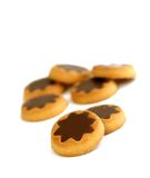 cookies with chocolate isolated on white Royalty Free Stock Images