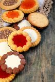 Cookies with chocolate and jelly filling. Stock Photography