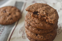 Cookies. Chocolate cookies on the kitchen towel Stock Photos