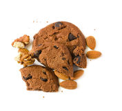 Cookies with chocolate and nuts Royalty Free Stock Images