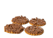 Cookies with chocolate and nuts isolated Royalty Free Stock Photos