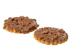 Cookies with chocolate and nuts isolated Royalty Free Stock Image