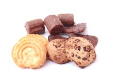 Cookies with chocolate. Some fresh cookies with chocolate Royalty Free Stock Photo