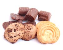Cookies with chocolate. Some fresh cookies with chocolate Royalty Free Stock Image