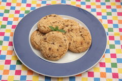 Cookies with chocolate. Some homemade cookies of wheat flour with chocolate stock photography