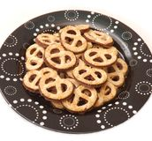 Cookies with chocolate. Some pretzel cookies with chocolate Stock Photo