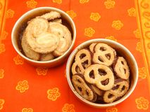 Cookies with chocolate. Some pretzel cookies with chocolate and sugar Stock Photography
