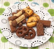 Cookies with chocolate. Some cookies and waffles with chocolate Stock Photos