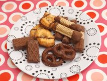 Cookies with chocolate. Some cookies and waffles with chocolate Stock Image
