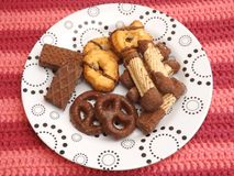 Cookies with chocolate. Some cookies and waffles with chocolate Royalty Free Stock Photos