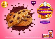 Cookies in chocolate splash ads vector background royalty free illustration