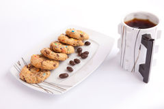 Cookies and chocolate with tea Royalty Free Stock Photos