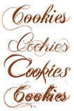 Cookies chocolate text isolated on white background Royalty Free Stock Photo