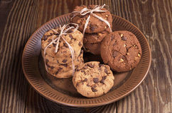 Cookies with chocolate Stock Photography