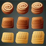 Cookies, chocolate and waffles Royalty Free Stock Photo