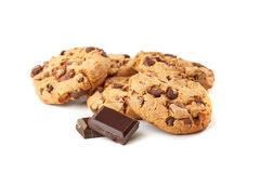 Cookies with chocolate on white Stock Photography