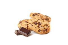 Cookies with chocolate on white Stock Images