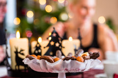 Cookies on Christmas coffee table Royalty Free Stock Images