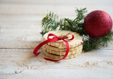 Cookies with christmas decoration. On wooden background Royalty Free Stock Image