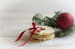 Cookies with christmas decoration. On wooden background Royalty Free Stock Photography