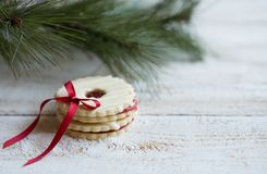 Cookies with christmas decoration. On wooden background Stock Photo