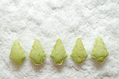 Cookies Christmas trees. Cookies green Christmas tree in the snow stock image