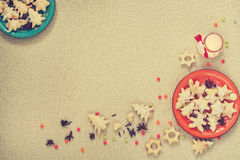 Cookies for Christmas is on the two plates in the corners Stock Image