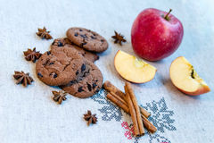 Cookies with cinnamon, apple and anise royalty free stock photo
