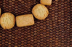 Cookies close up on bamboo texture background Stock Photography