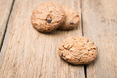 Cookies. Close up chocolate chip cookies on wood table Royalty Free Stock Photos